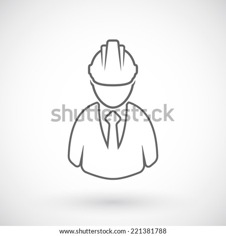 Builder outline icon - stock vector