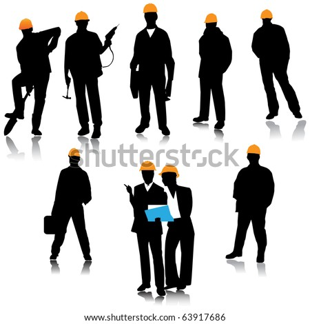 Builder people silhouette.Vector - stock vector