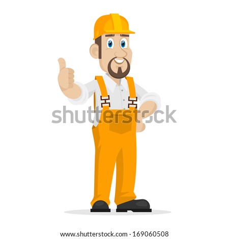 Builder shows thumbs up - stock vector