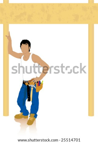 Builder under wooden gate/sign - stock vector