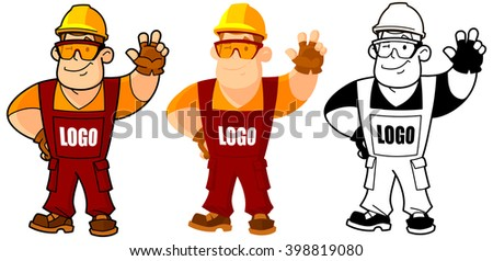 Builder, working, or foreman in a helmet and overalls. Replace your logo on. - stock vector