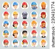 Builders Cartoon Characters Icons Set1.2. In the EPS file, each element is grouped separately. Clipping paths included in additional jpg format. - stock vector