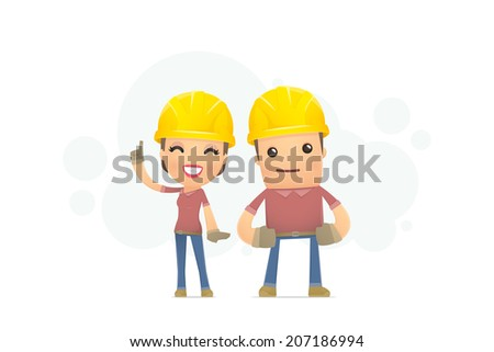 builders family. conceptual illustration - stock vector