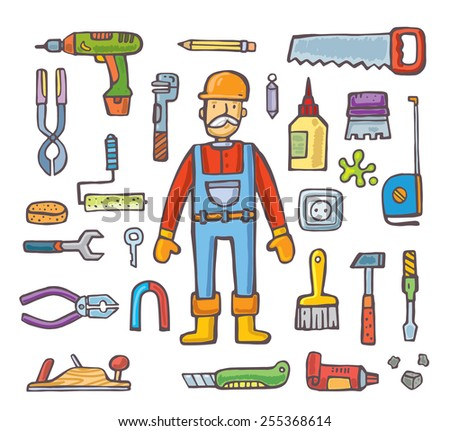 Builders icons set. Isolated on white background.vector - stock vector