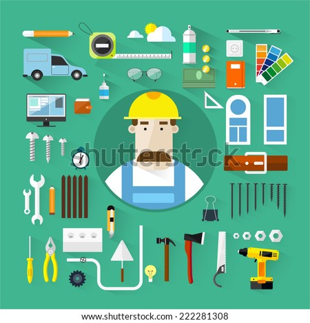 Builders icons set.Vector color flat illustrations.Building.Tools - stock vector