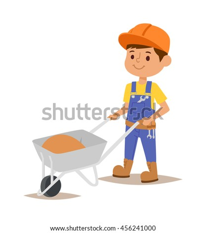 Builders kids boy and girl builder with tools. Vector character builder kid, cute child construction. Little person work equipment. Fun young profession. - stock vector