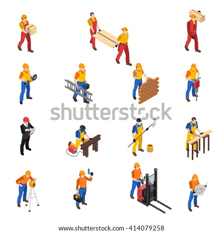 Builders work at construction site isometric icons collection with mason carpenter and project manager isolated vector illustration - stock vector