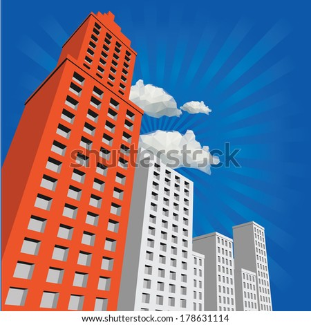 building and blusky - stock vector