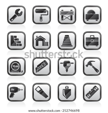 Building and construction icons - vector icon set - stock vector
