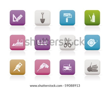 building and construction icons - vector icon set 2 - stock vector