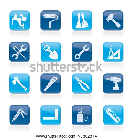 Building and Construction work tool icons - vector icon set
