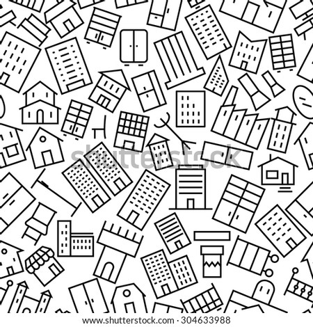 Building and Furniture Seamless Outline Icon Pattern  - stock vector