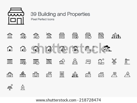 Building and Properties Pixel Perfect Icons (line style) - stock vector