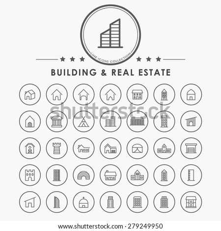 building and real estate outline icons with circle button - stock vector