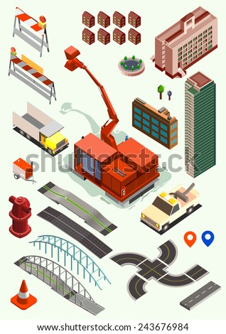 building and transportation isometric set. road, crawler, building - stock vector