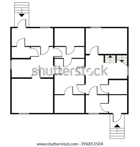 Building architectural plan of the house. Blueprint vector background - stock vector