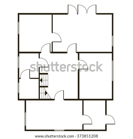 Building architectural plan of the house. Blueprint vector background. Vector technical construction project - stock vector