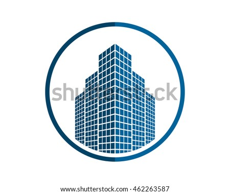 building architecture icon blue