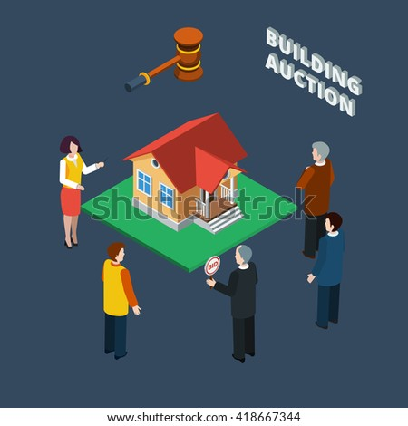 Building auction isometric flat icon set with binding people and female auctioneer vector illustration - stock vector
