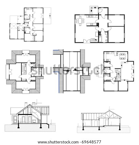 Building Background Plan House Eps Stock Vector