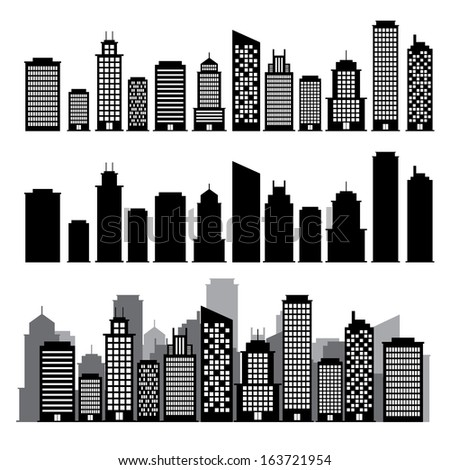 Building black and white icon set.Illustration EPS10 - stock vector