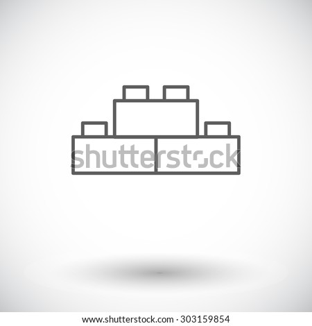 Building block icon. Thin line flat vector related icon for web and mobile applications. It can be used as - logo, pictogram, icon, infographic element. Vector Illustration. - stock vector