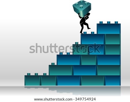 Building Blocks Graph-Abstract business concept of a businessman placing large block on the chart - stock vector