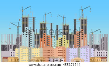 Building city under construction website with tower cranes. Constructions infographics template design - stock vector