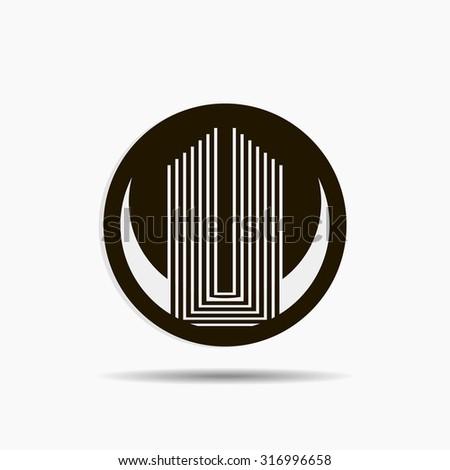 Building company original concept icon or logo black color style vector art - stock vector