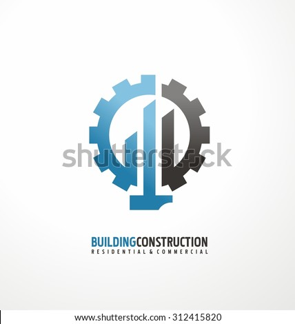 Building construction and engineering logo design concept. Creative symbol layout with gear, hammer and buildings shape. Unique real estates icon theme.  Corporate icon template with tools silhouette. - stock vector