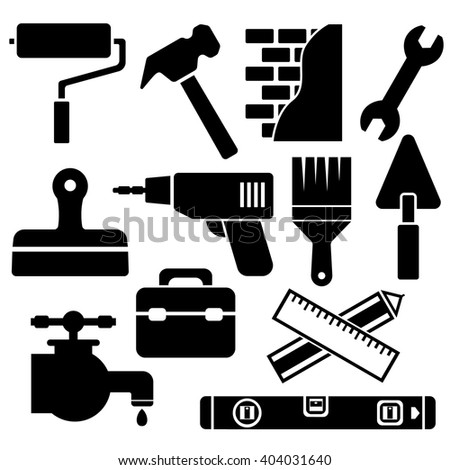 Building, construction and home repair tools. Web icon set - stock vector