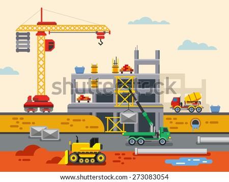 Building Construction Flat Design Vector Concept Illustration. Concept Vector Illustration in flat style design. Real estate concept illustration. - stock vector