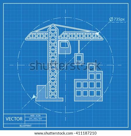 Building construction icon blueprint style vector de stock411187210 building construction icon blueprint style malvernweather Images