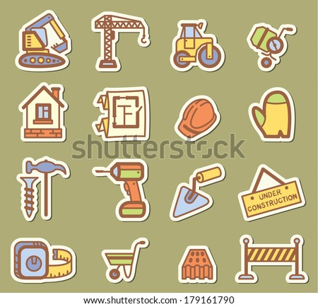 Building (construction) icons set - stock vector