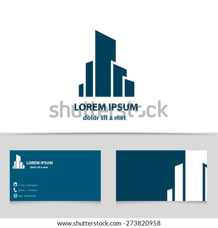 Building construction, logo design for your company. Creative logotype with business card template. - stock vector