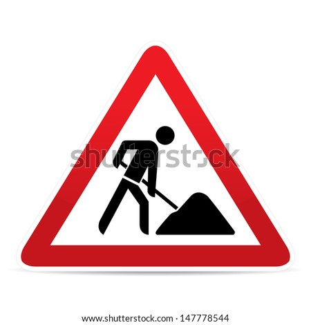building construction site warning sign - stock vector