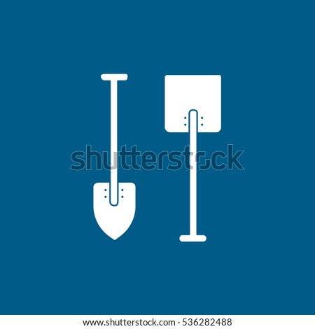 Building Construction Tool Shovel Flat Icon On Blue Background