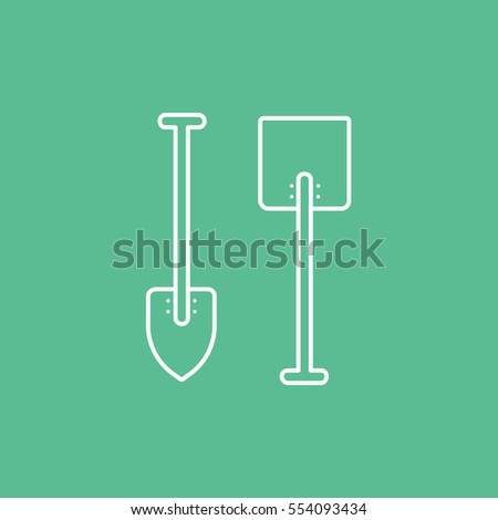 Building Construction Tool Shovel Line Icon On Green Background
