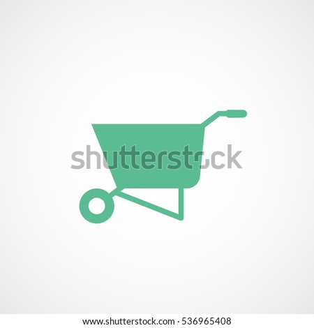 Building Construction Tool Wheelbarrow Green Flat Icon On White Background