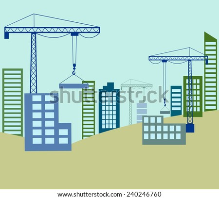 Building construction with crane in the city - stock vector