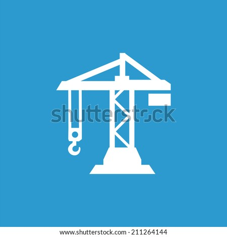building crane icon, isolated, white on the blue background. Exclusive Symbols  - stock vector
