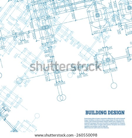 Building design background. Blue building plan silhouette on white background. Vector illustration. - stock vector