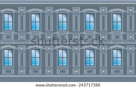 Building facade parts - walls - Vector Illustration - stock vector