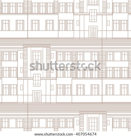 Building facade seamless pattern. City architectural blueprint line background design element - stock vector
