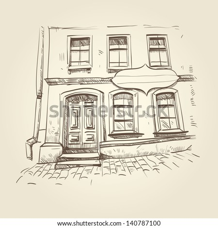 Building hand drawn. Vector illustration - stock vector