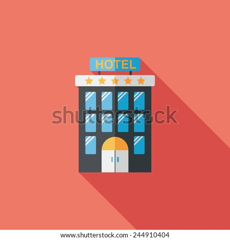 Building hotel flat icon with long shadow,eps10 - stock vector