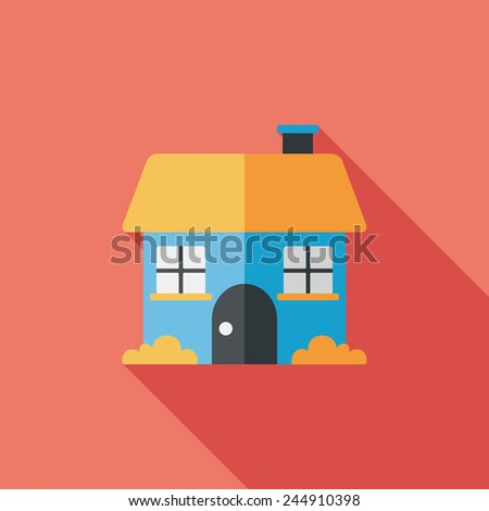 Building house flat icon with long shadow,eps10 - stock vector