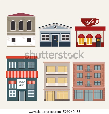 Building House Home Store Apartment Vector Stock Vector