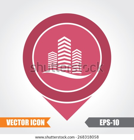 Building Icon On Map Pointer. Eps.-10. - stock vector