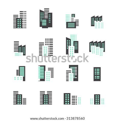 building icon set - stock vector